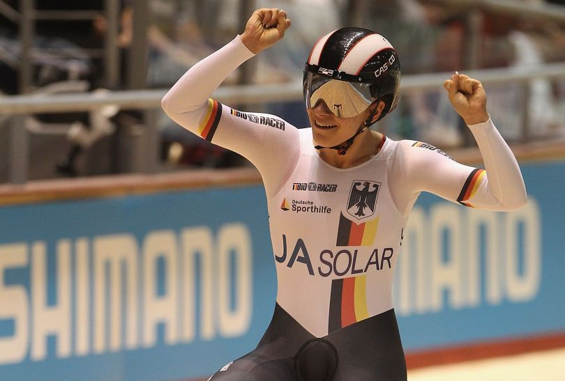 Jedna ze złotych medalistek w sprincie drużynowym - Niemka Kristina Vogel (fot. Getty Images)