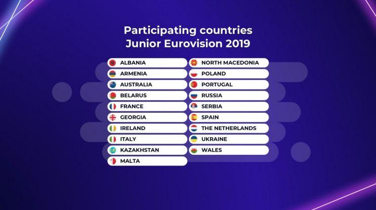 19 państw w konkursie Eurowizji Junior 2019