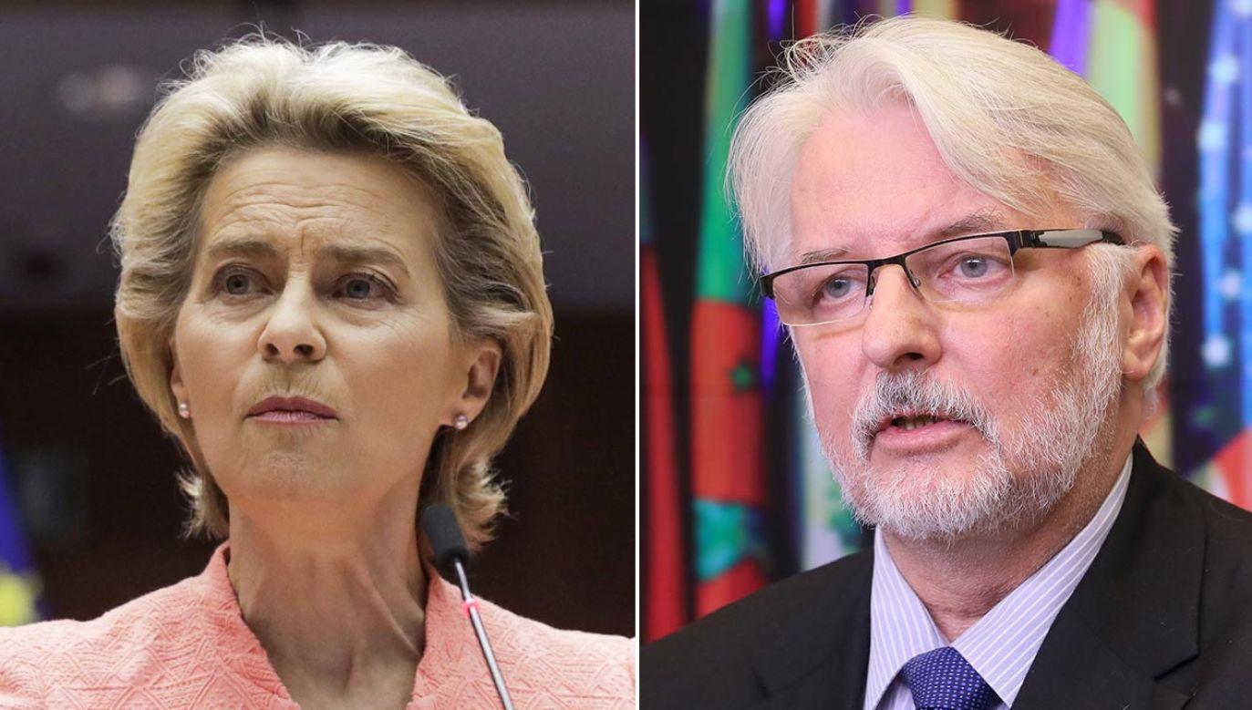 Ursula von der Leyen i Witold Waszczykowski (fot. PAP/EPA/OLIVIER HOSLET; PAP/Paweł Supernak)
