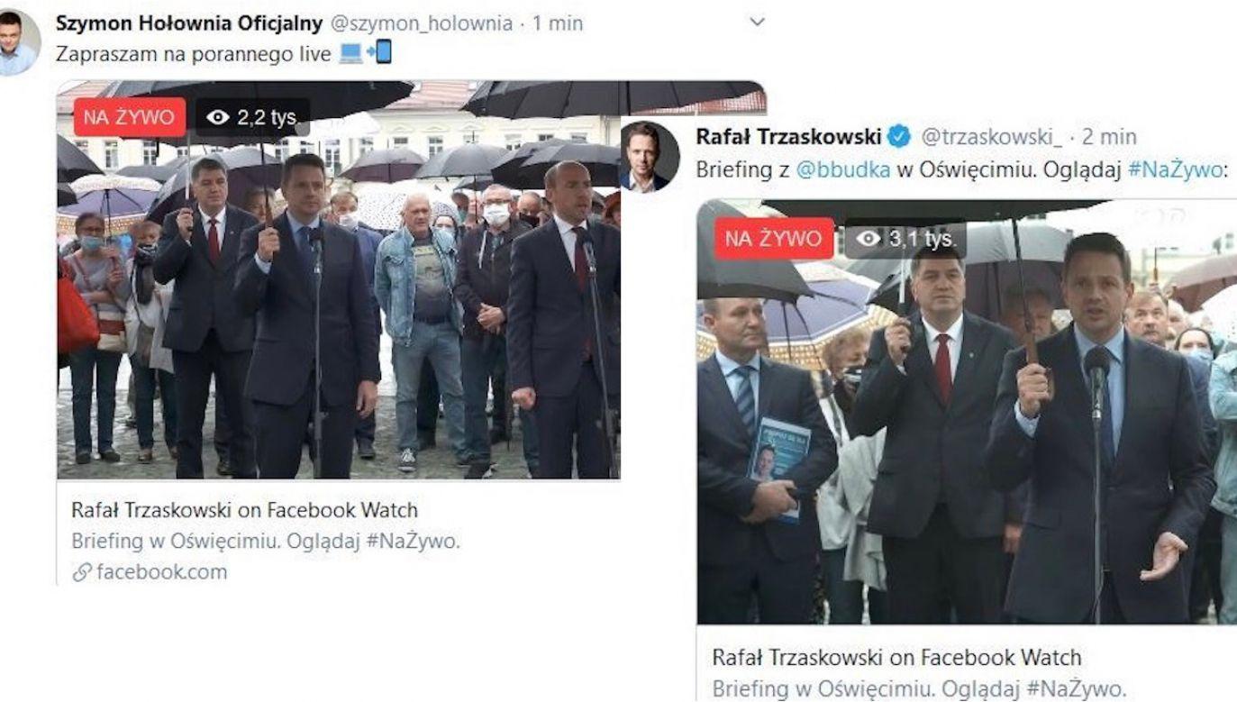 Przypadek? (fot. FB/Rafał Trzaskowski/Szymon Holownia)