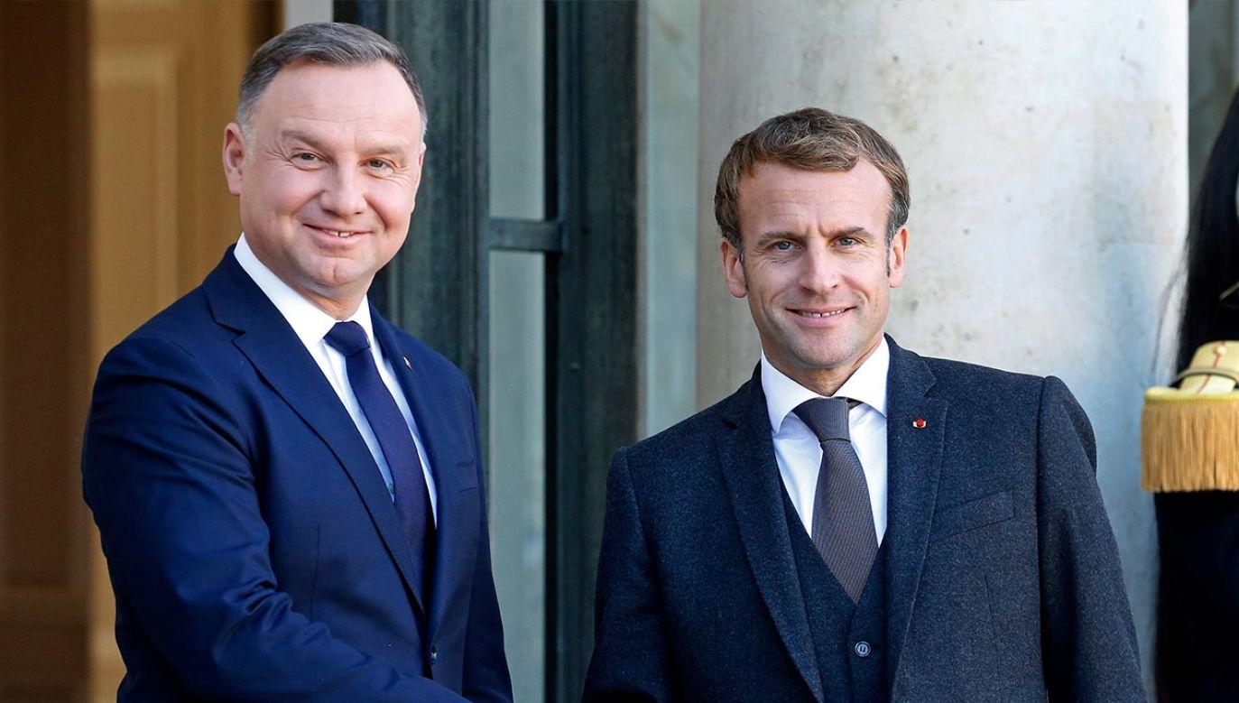Prezydenci Andrzej Duda i Emmanuel Macron rozmawiali w Paryżu (fot. Chesnot/Getty Images)