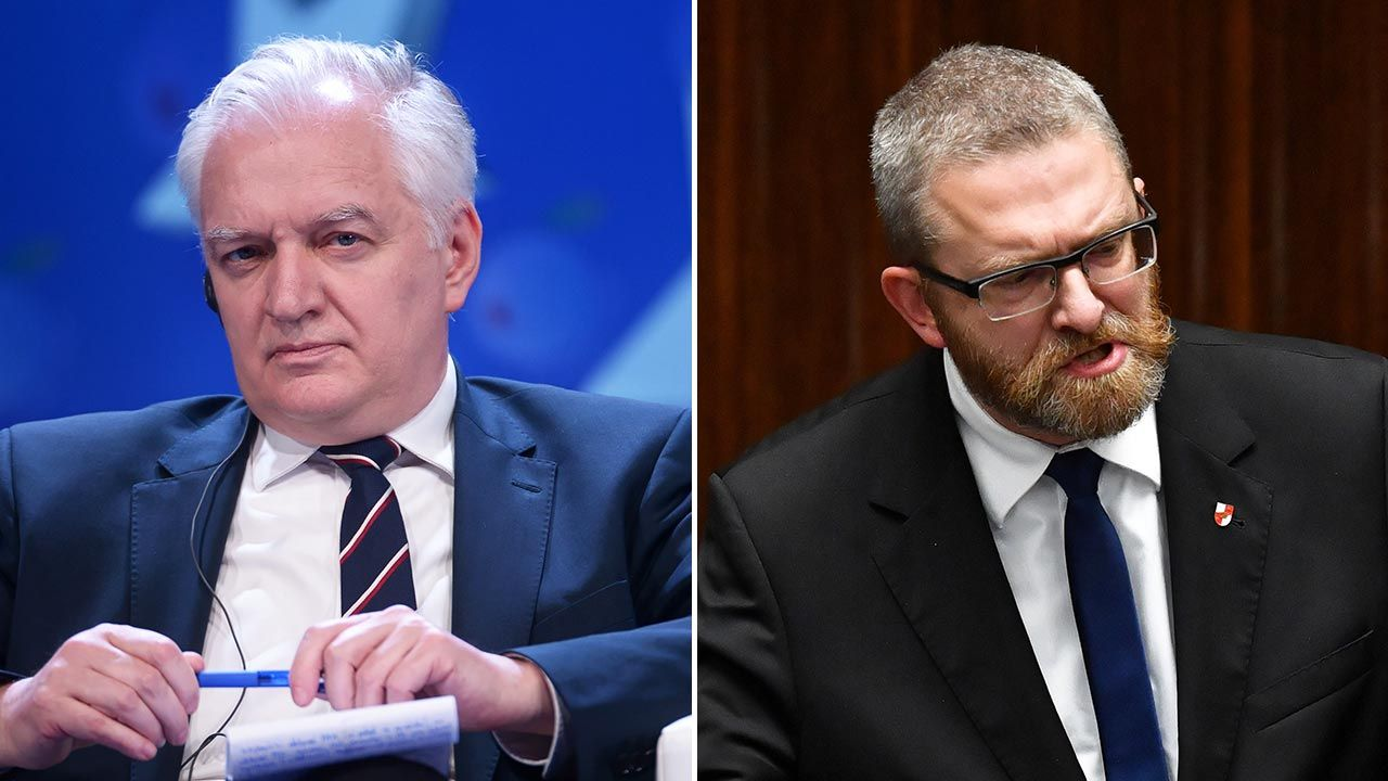Jarosław Gowin podkreślił, że Braun słusznie został ukarany (fot. PAP/Marcin Obara, Radek Pietruszka)