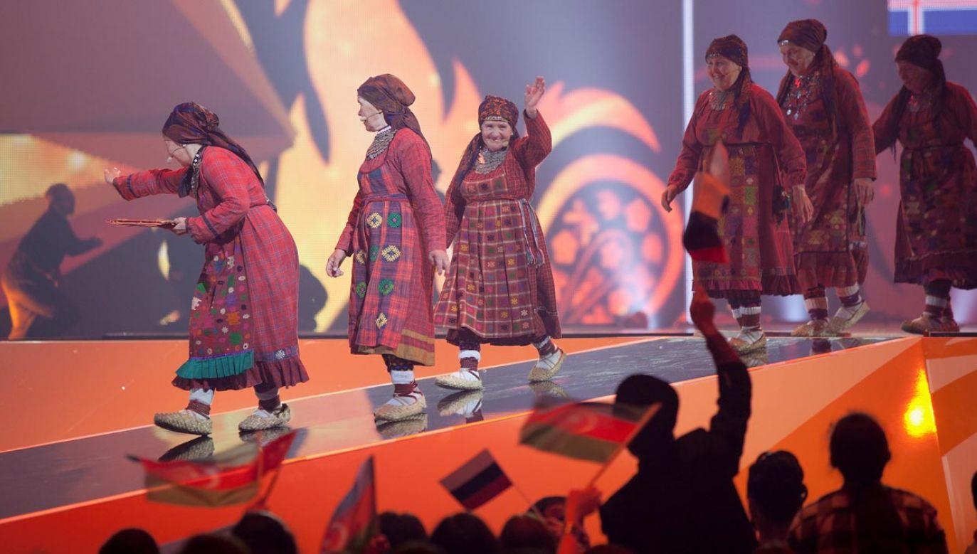 Buranowskije Babuszki – udmurcki zespół folklorystyczny, reprezentowały Rosję podczas 57. Konkursu Piosenki Eurowizji w 2012 roku (fot. Pablo Blazquez Dominguez/Getty Images)