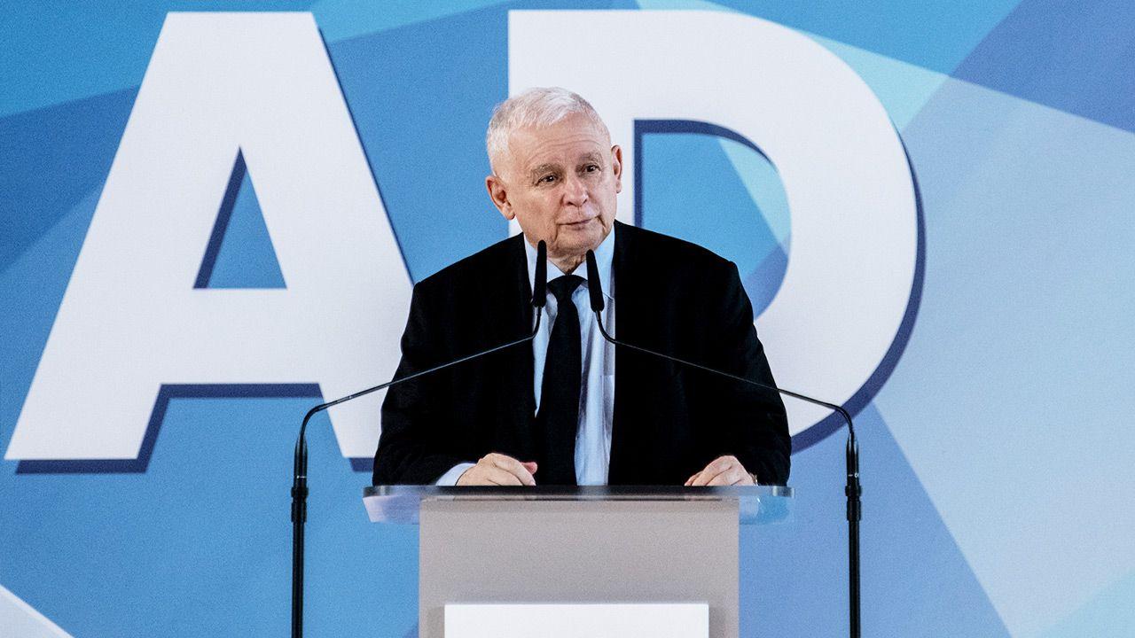 Jarosław Kaczyński mówił m.in. promocji Polskiego Ładu (fot. Forum/Michal Kosc)