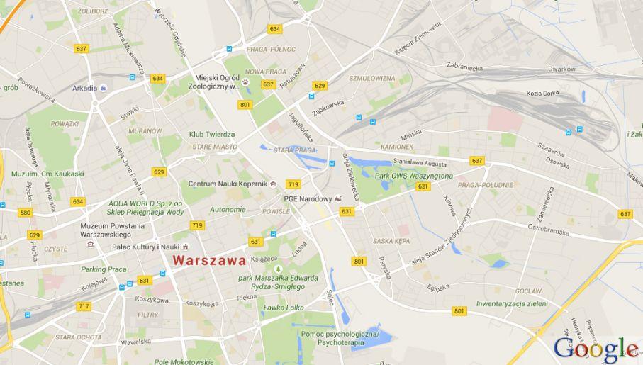 W Warszawie Wisła nie była niebieską linią, tylko białą plamą (fot. google.maps.pl)
