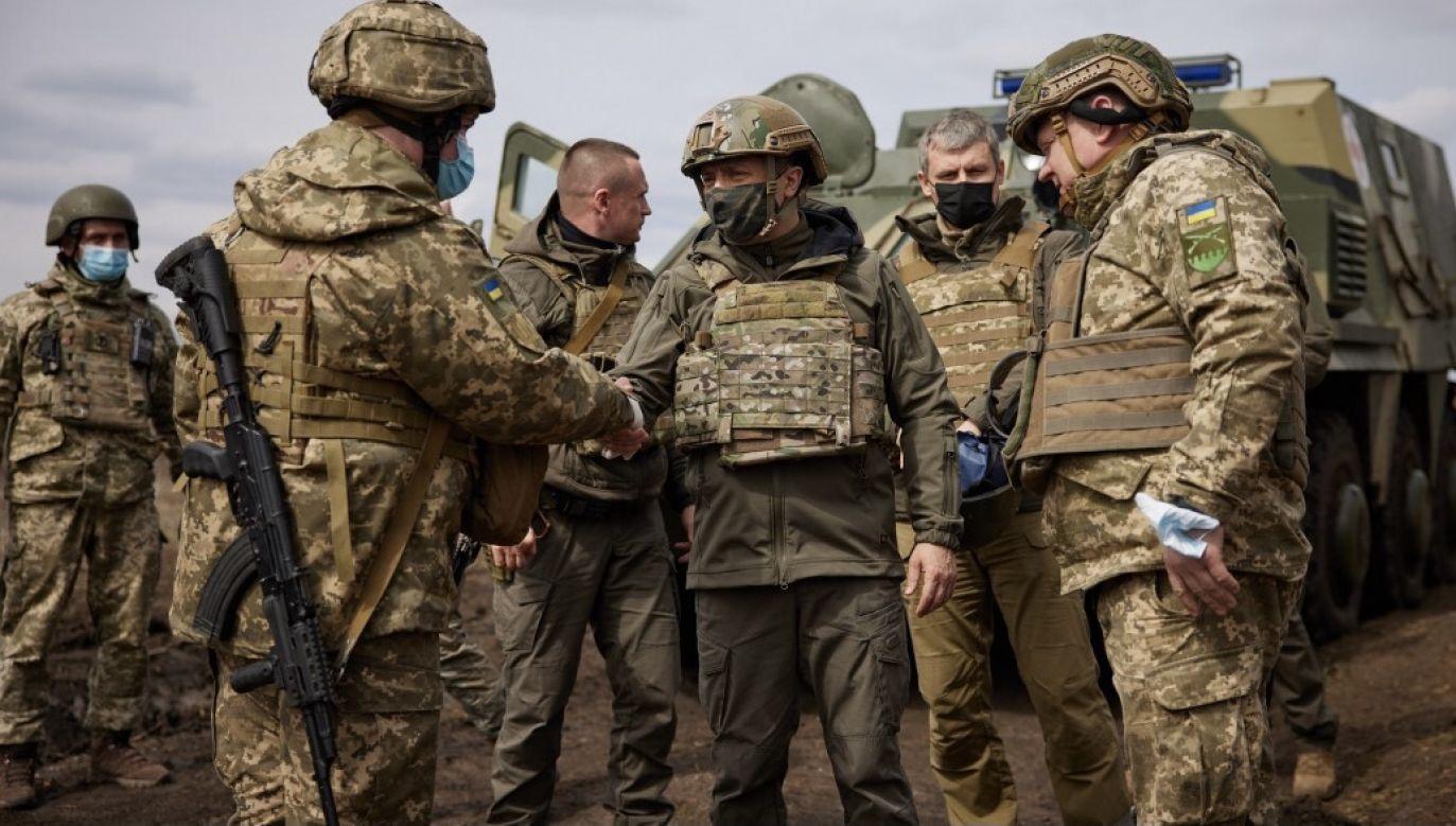 Według prezydenta Ukrainy rosyjska  eskalacja wokół Donbasu to test dla Zachodu (fot. Presidency of Ukraine/Handout/Anadolu/Getty Images)