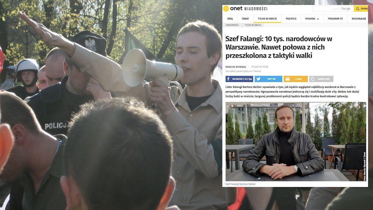 Bartosz Bekier (hajlujący na zdjęciu) niedawno podsycał społeczne nastroje na łamach Onetu (fot. Wojciech Mucha, screen Onet.pl)