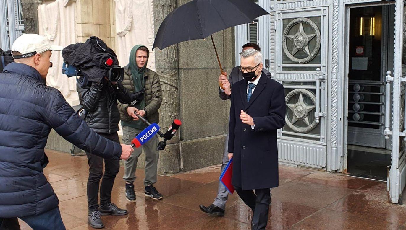 Wcześniej MSZ Rosji wezwało polskiego ambasadora (fot. Twitter/Tomasz Dawid Jędruchów)