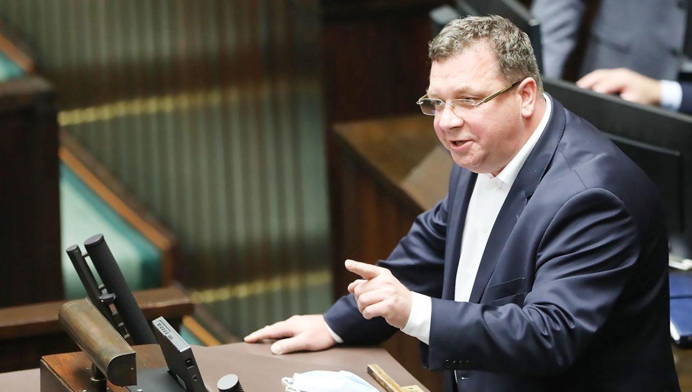 Minister w KPRM Michał Wójcik (fot. PAP/Wojciech Olkuśnik)