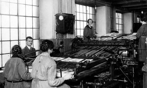 Banknoty drukowały Państwowe Zakłady Graficzne w Warszawie Na zdjęciu jedna z maszyn drukujących nowe pięćdziesiątki. Marzec 1927. Fot. NAC/IKC, sygn. 1-G-1954-2