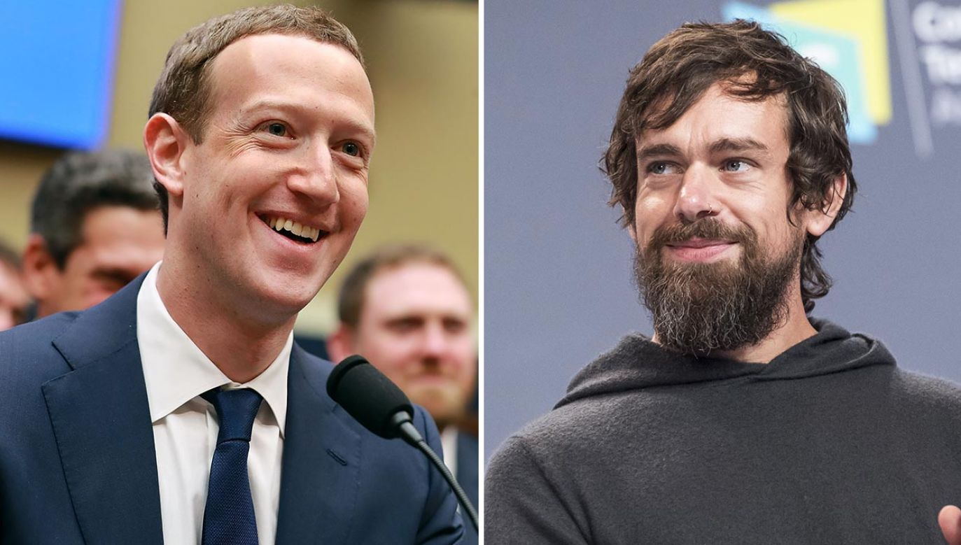 Mark Zuckerberg i Jack Dorsey (fot. Chip Somodevilla/Getty Images; David Paul Morris/Bloomberg via Getty Images)