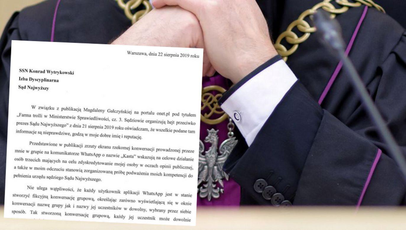 W opublikownym oświadczeniu sędzia SN Konrad Wytrykowski stwierdza, że informacje zawarte w artykule portalu onet.pl są nieprawdziwe (ZDJĘCIE ILUSTRACYJNE) (fot. PAP/Jakub Kaczmarczyk)