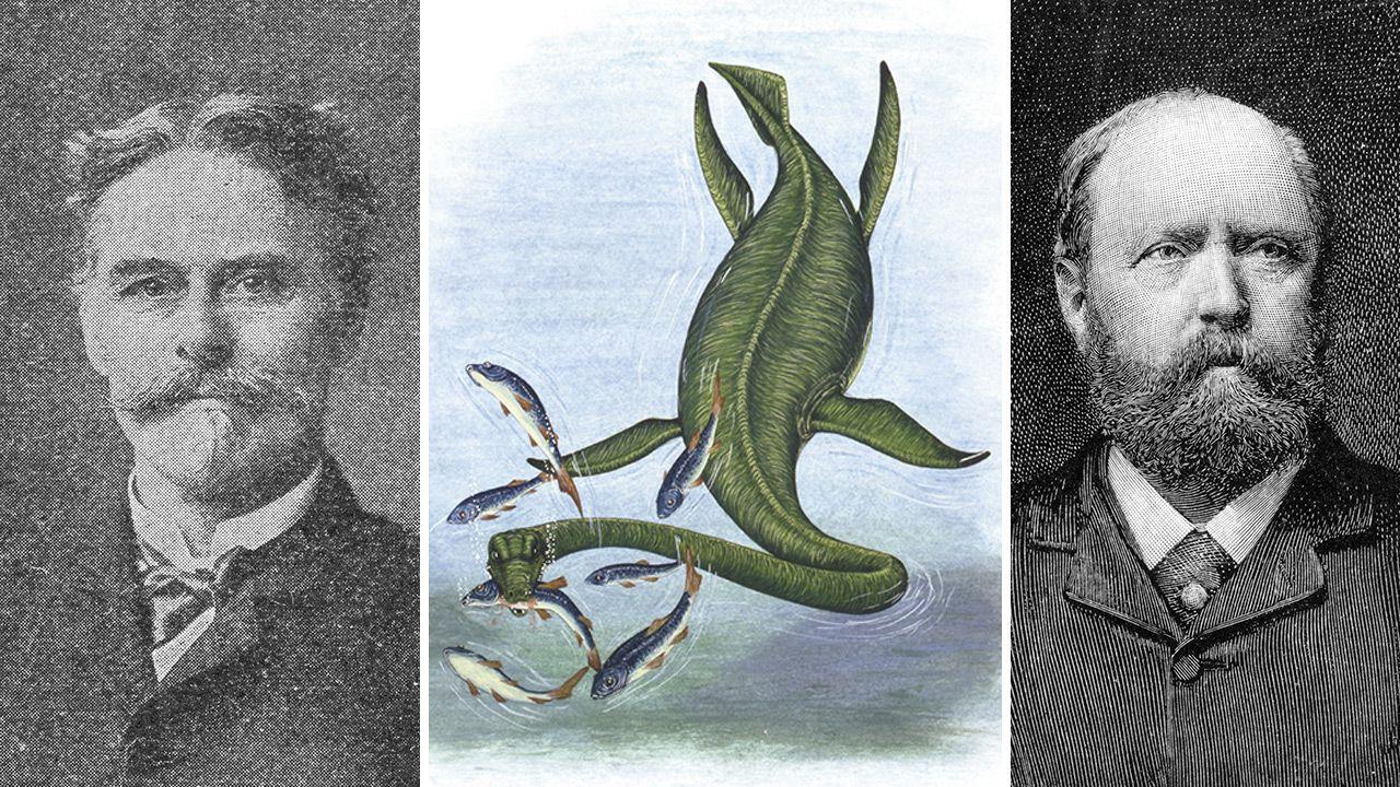 Po lewej - Edward D. Cope, po prawej -  Othniel  C. Marsh, pośrodku - elasmozaur (fot. Getty Images)