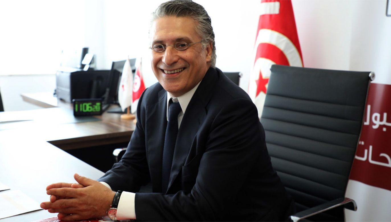 Nabil Karoui pozostaje w areszcie od 23 sierpnia (fot. PAP/EPA/STRINGER)
