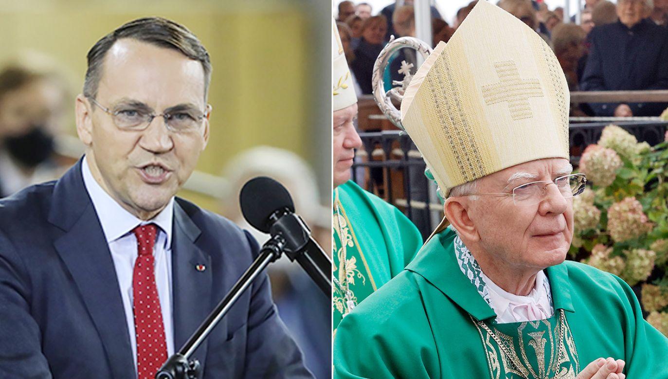 Radosław Sikorski, abp Marek Jędraszewski (fot. PAP/Wojciech Olkuśnik, Waldemar Deska)