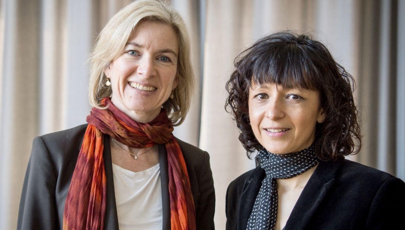 Emmanuelle Charpentier i Jennifer A. Doudna zostały tegorocznymi laureatkami Nagrody Nobla w dziedzinie chemii (fot. PAP/EPA/ALEXANDER HEINL)