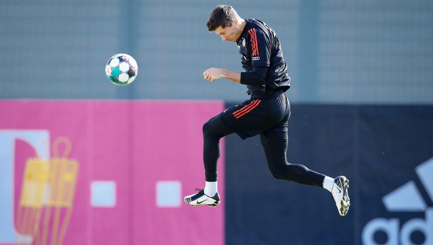 Robert Lewandowski podczas treningu w Monachium 23 października 2020. Fot. M. Donato/FC Bayern via Getty Images