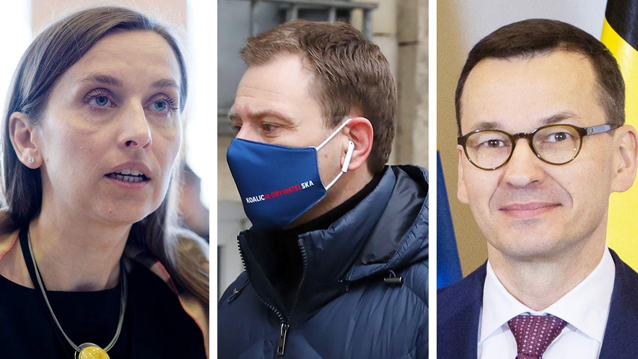 Sylwia Spurek, Sławomir Nitras i Mateusz Morawiecki (fot. Getty Images; PAP/Rafał Guz)