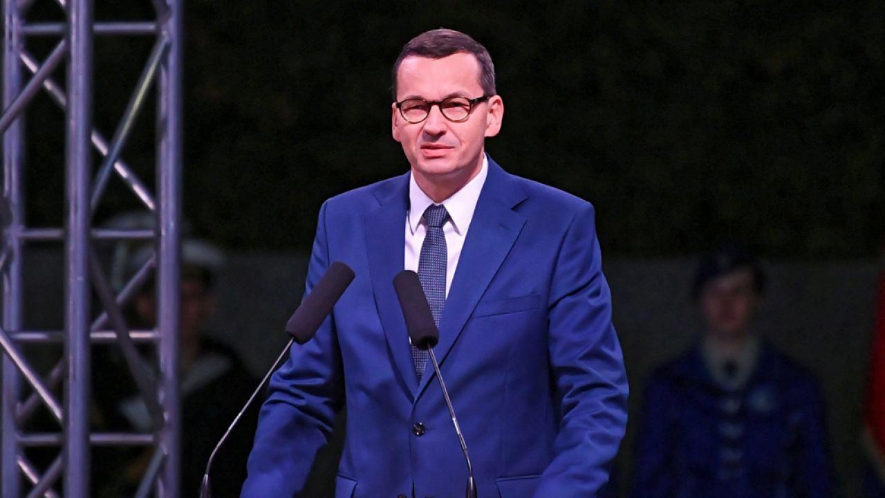 Premier RP Mateusz Morawiecki w trakcie przemówienia na Westerplatte (fot. PAP/Adam Warżawa)