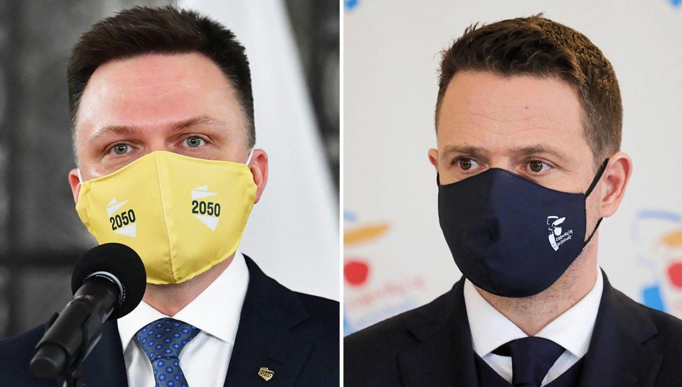 Rafał Trzaskowski i Szymon Hołownia zostali uznani za liderów opozycji w Polsce (fot.  PAP/Radek Pietruszka, Paweł Supernak)
