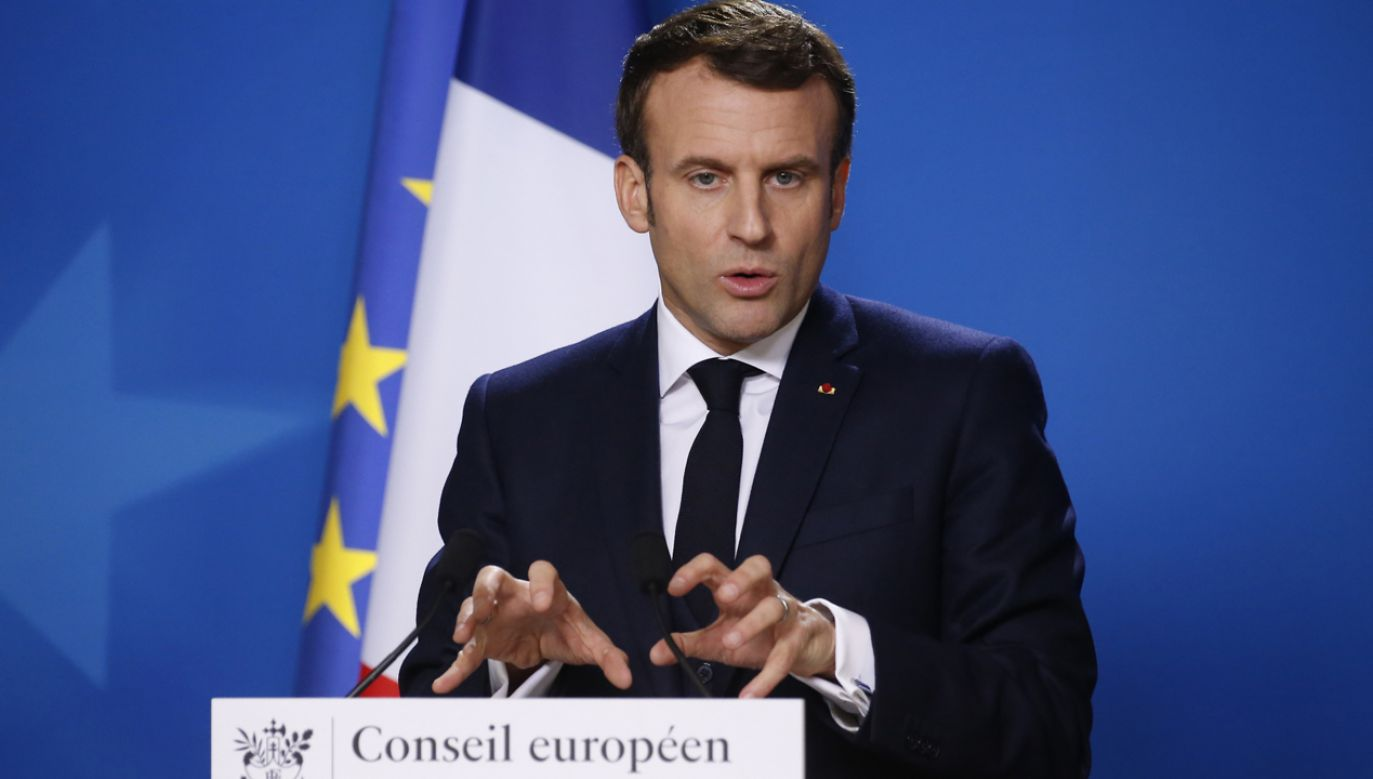 Ambasador przytacza wypowiedź prezydenta  Macrona (na zdj.) (fot. AP/EPA/JULIEN WARNAND / POOL)