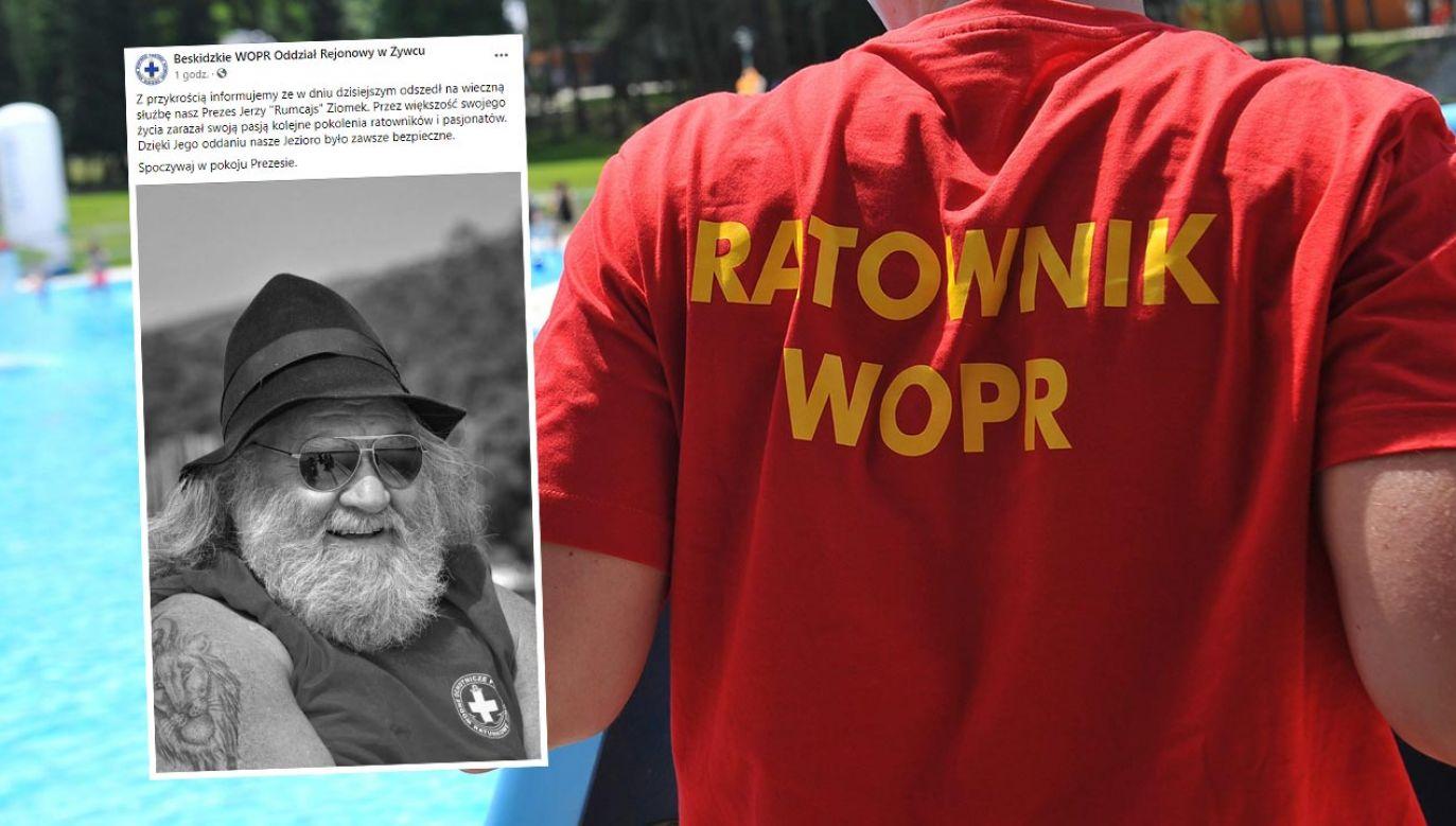 Jerzy Ziomek był ratownikiem wodnym i przewodnikiem górskim (fot. PAP/Marcin Bielecki; Facebook/Beskidzkie WOPR Oddział Rejonowy w Żywcu)