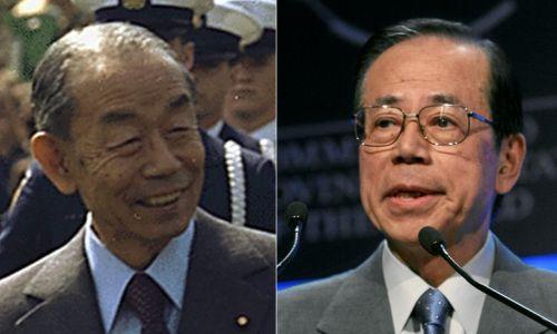 W Japonii rodów politycznych jest zatrzęsienie. Premierami byli tu dwaj panowie Fukuda (od prawej): ojciec Takeo (1976–1978) i syn Yasuo (2007-2008; wcześniej polityczny sekretarz swego ojca, gdy ten był premierem). Fot. Wikimedia Commons: Takeo Fukuda (1977) – White House, Jack E. Kightlinger; National Archives and Records Administration (ARC nr 174134, Domena publiczna)/ World Economic Forum (www.weforum.org), swiss-image.ch/ Remy Steinegger - originally posted to Flickr, CC BY-SA 2.0