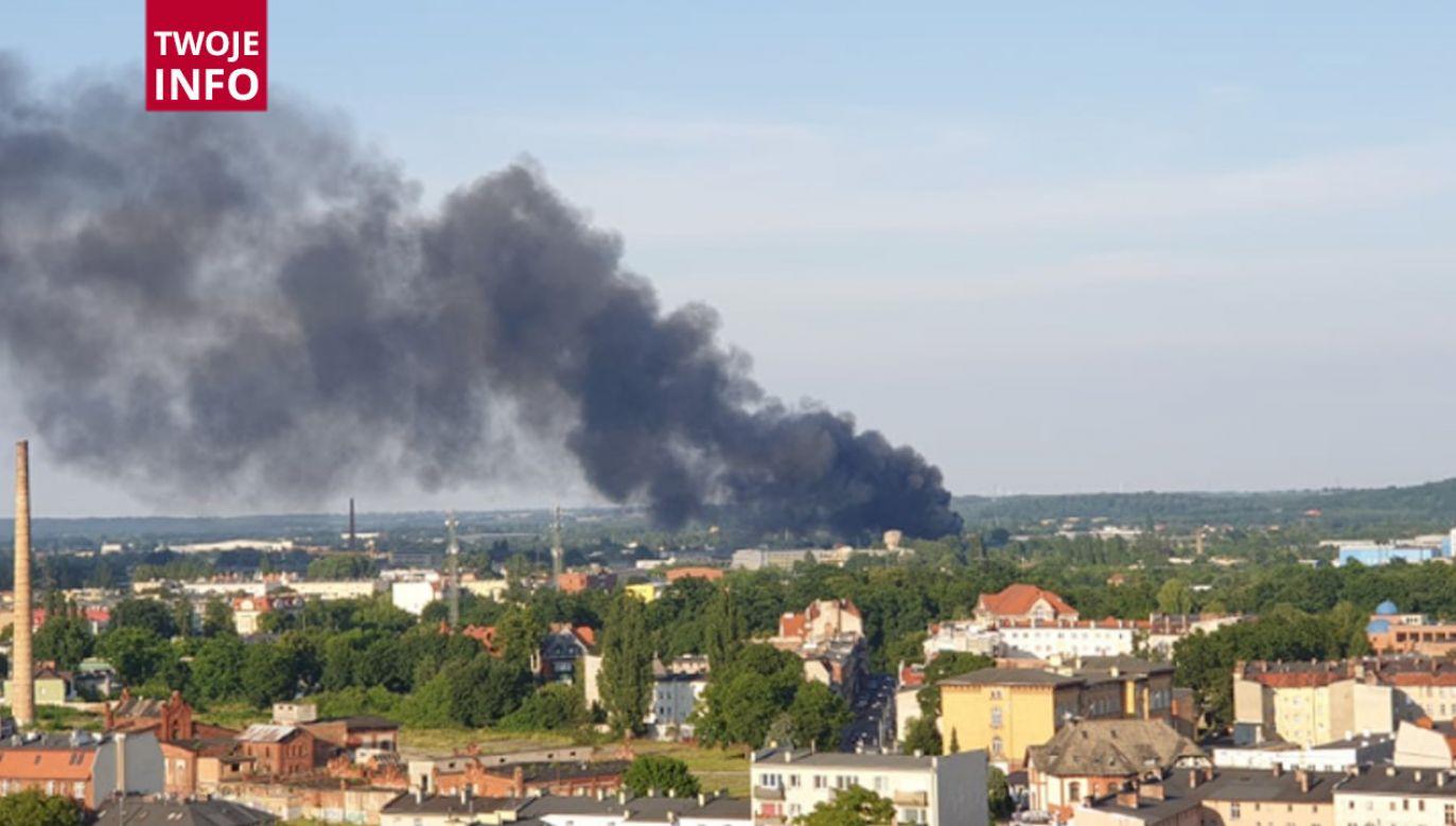 Na miejscu jest ok.21 zastępów straży pożarnej (fot.Twoje Info)