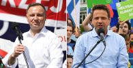 Prezydent RP Andrzej Duda i prezydent Warszawy Rafał Trzaskowski (fot. PAP/Łukasz Gągulski, Grzegorz Michałowski)