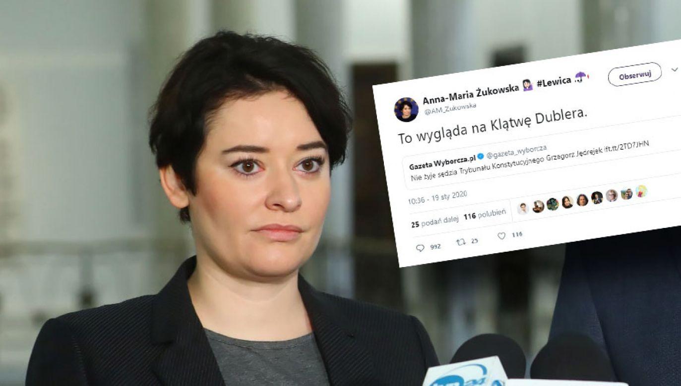 """Słowami """"To wygląda na Klątwę Dublera"""" rzeczniczka Lewicy skomentowała informację o śmierci sędziego TK (fot. PAP/Rafał Guz; Twitter/Anna-Maria Żukowska)"""