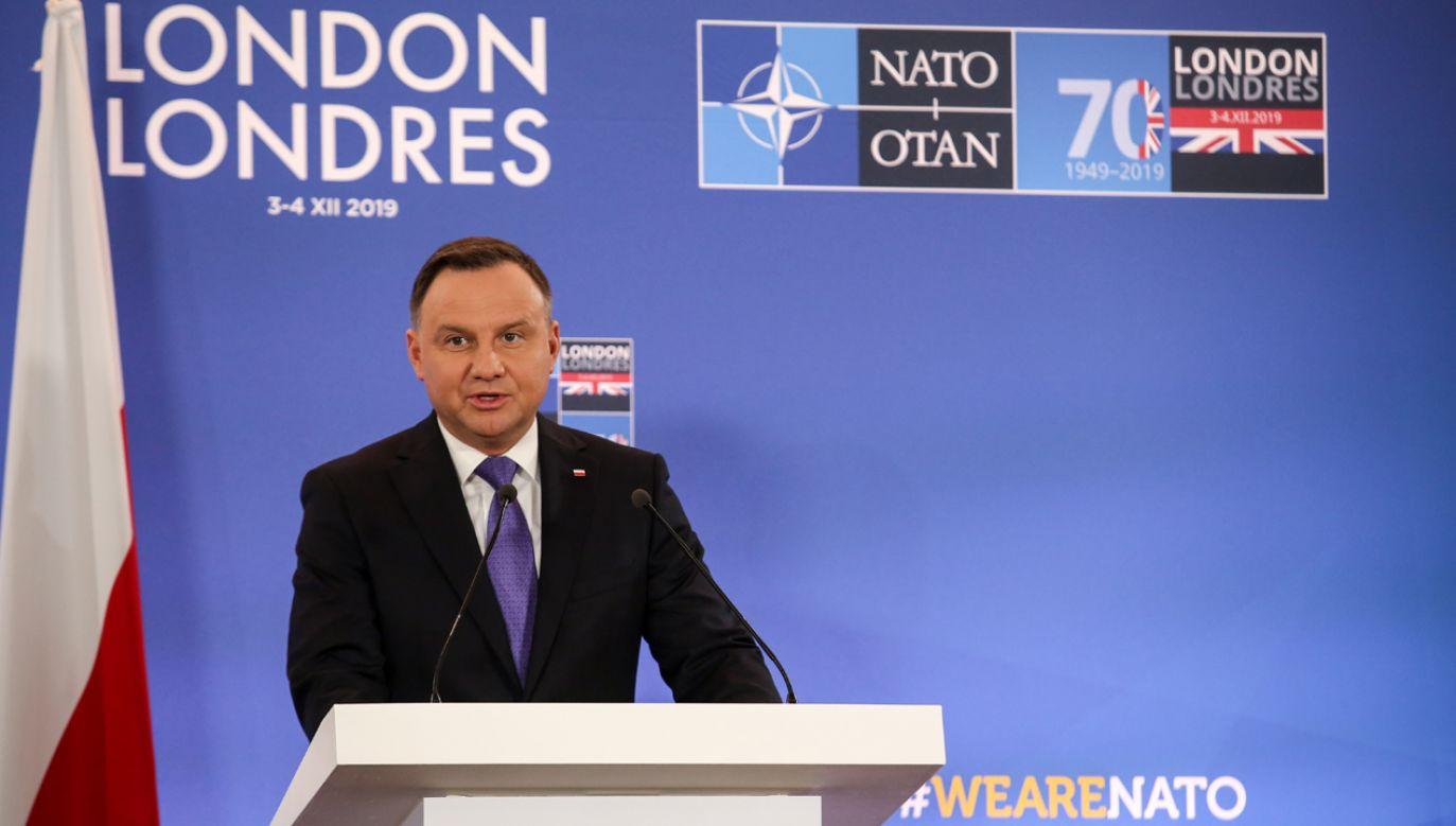 Prezydent Duda w trakcie konferencji prasowej w Londynie (fot. Dominika Zarzycka/NurPhoto via Getty Images)