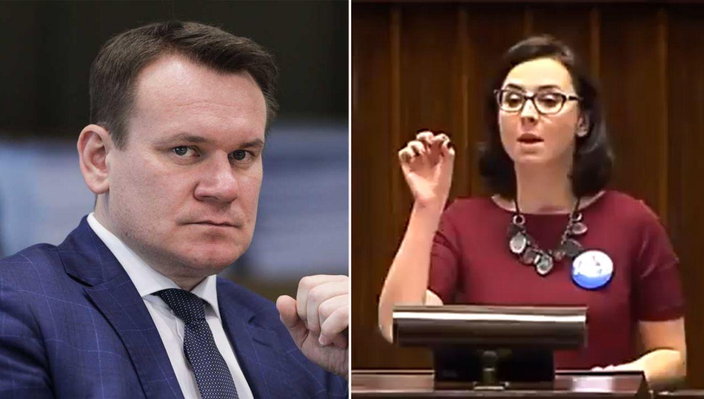 Gasiuk-Pihowicz zmieniła zdanie ws. TK. Dominik Tarczyński przypomina słowa posłanki (fot. PAP/Leszek Szymański, Twitter.com)