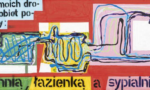 Kompozycyjnym łącznikiem bywają kolory, tematy, hasła. Fot. MCSW Elektrownia