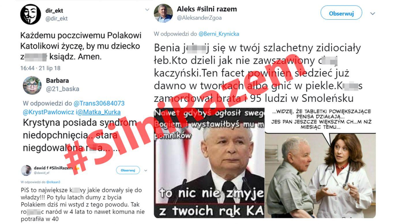 Na Twitterze można znaleźć setki wulgarnych wypowiedzi członków grupy hejterskiej #SilniRazem (fot. twitter)