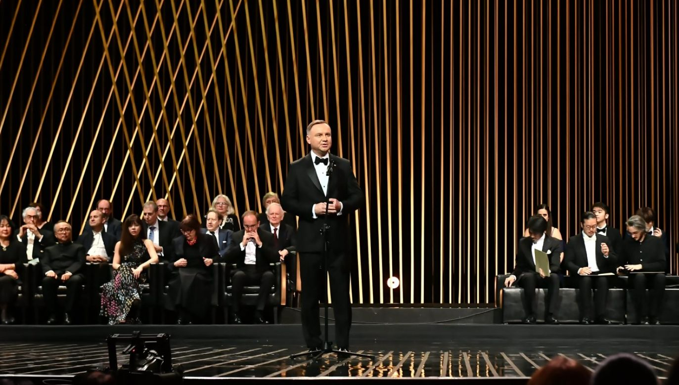 Prezydent RP Andrzej Duda w trakcie gali wręczenia nagród 18. Konkursu Chopinowskiego (fot. PAP/Andrzej Lange)