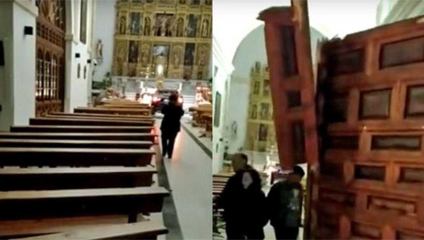Kierowdza staranował drzwi kościoła (fot.  YouTube/La Tribuna de Toledo)