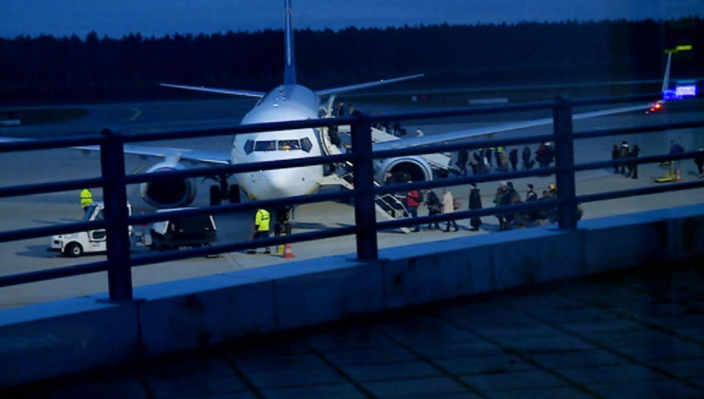 Na lotnisku w Goleniowie był w poniedziałek minister aktywów państwowych Jacek Sasin  (fot. TVP)