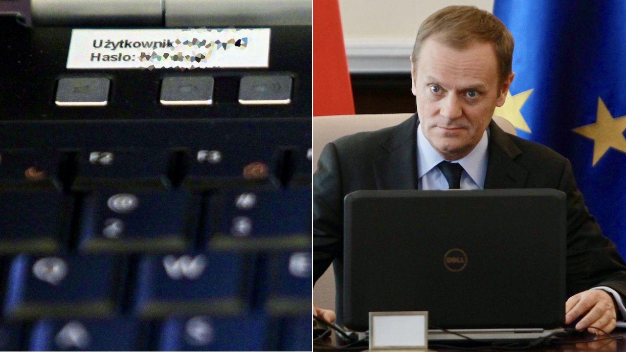 """Naklejka ze """"ściągawką"""" – loginem i hasłem do komputera Donalda Tuska (fot. arch.PAP/Radek Pietruszka)"""