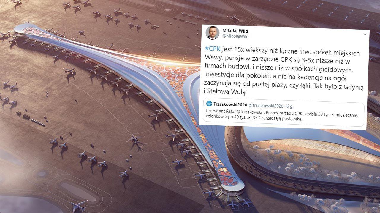 """Mikołaj Wild przypomniał, że """"inwestycje dla pokoleń na ogół zaczynają się od pustej plaży czy łąki (fot. Facebook/@SolidarityAirport)"""