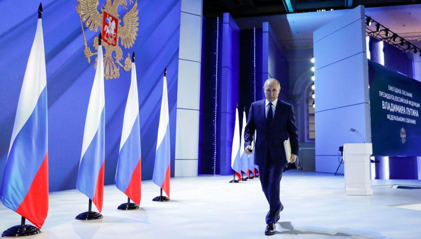 Władimir Putin wygłosił orędzie przed połączonymi izbami rosyjskiego parlamentu (fot. Mikhail Metzel\TASS via Getty Images)