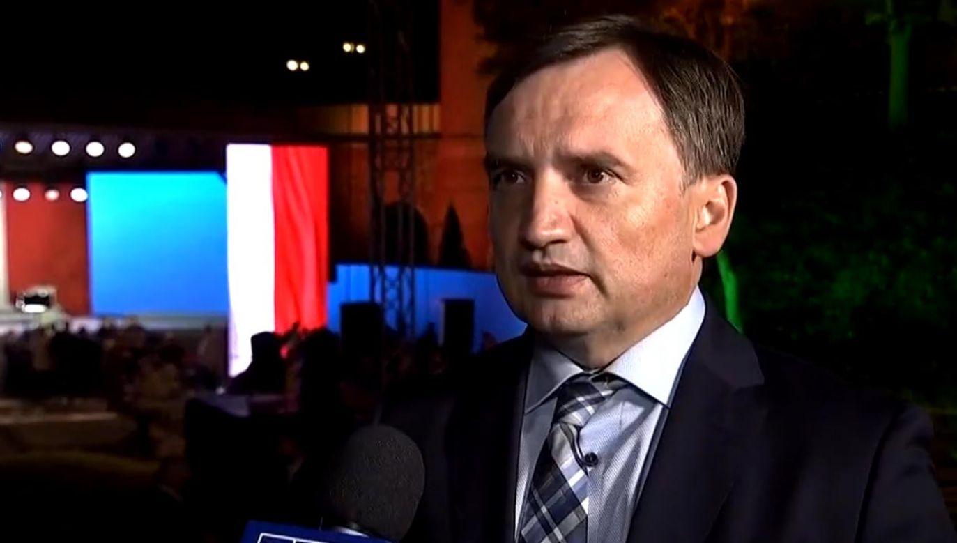 Minister sprawiedliwości Zbigniew Ziobro odniósł się do kwestii repolonizacji mediów (fot. TVP Info)