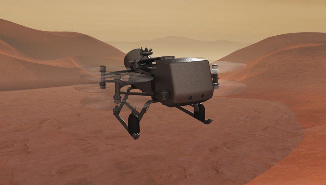 Dragonfly ma rozpoczą misję na Tytanie w 2034 roku (graf. NASA)