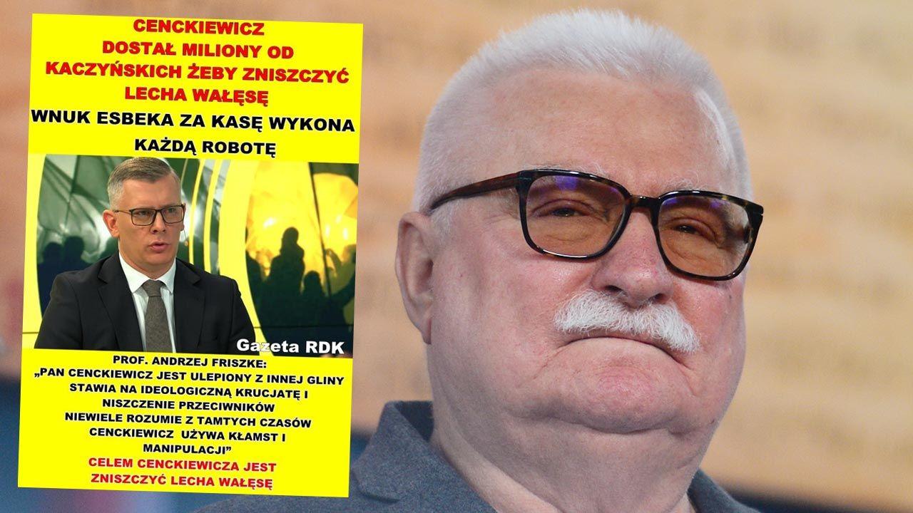 Lech Wałęsa taką grafiką skomentował przegrany proces ze Sławomirem Cenckiewiczem (fot. Artur Widak/NurPhoto via Getty Images)