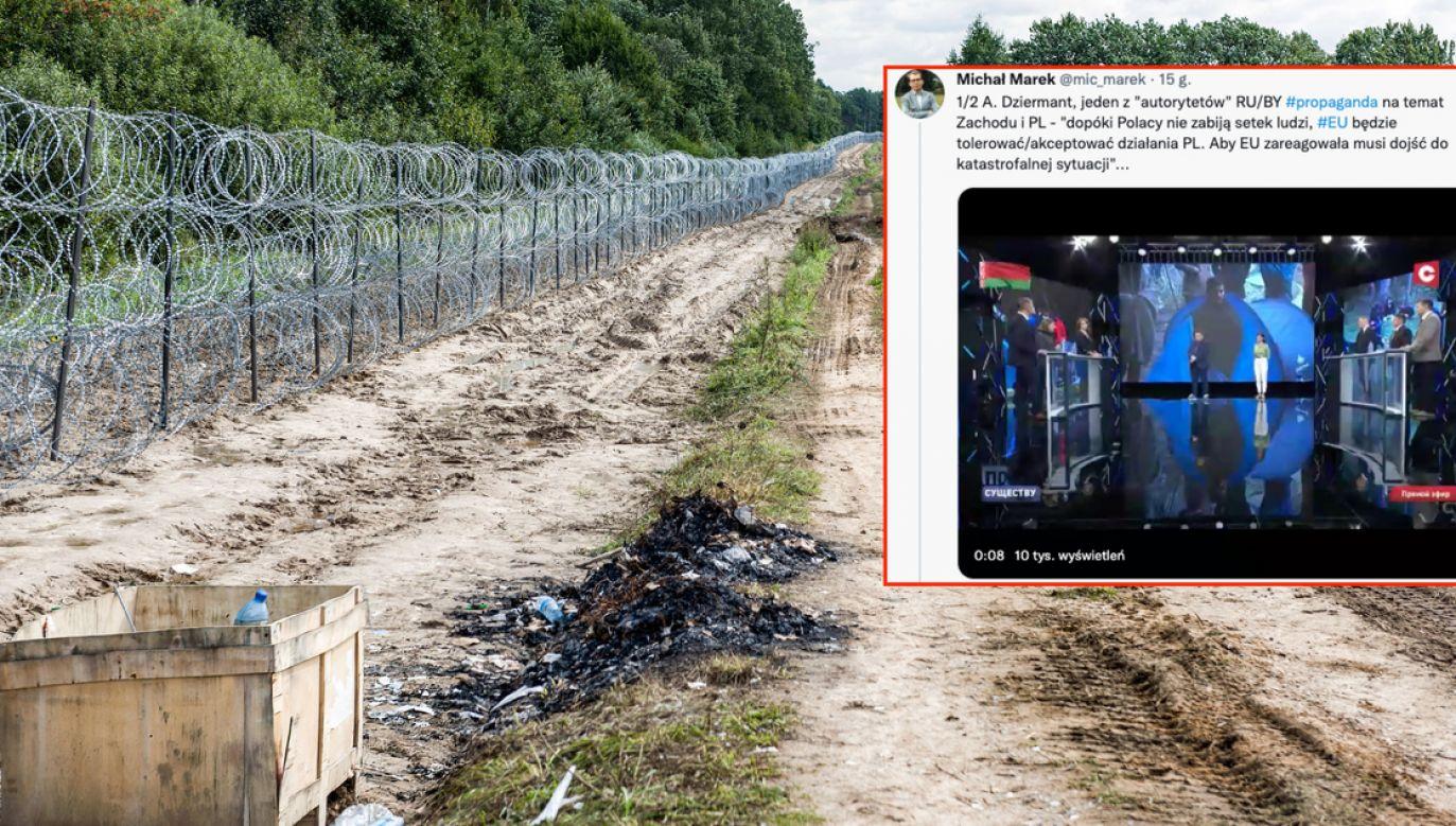 Białoruska propaganda atakuje UE. Ich narrację powiela część redakcji w Polsce (fot. Attila Husejnow via Getty Images, Twitter.com/mic_marek)