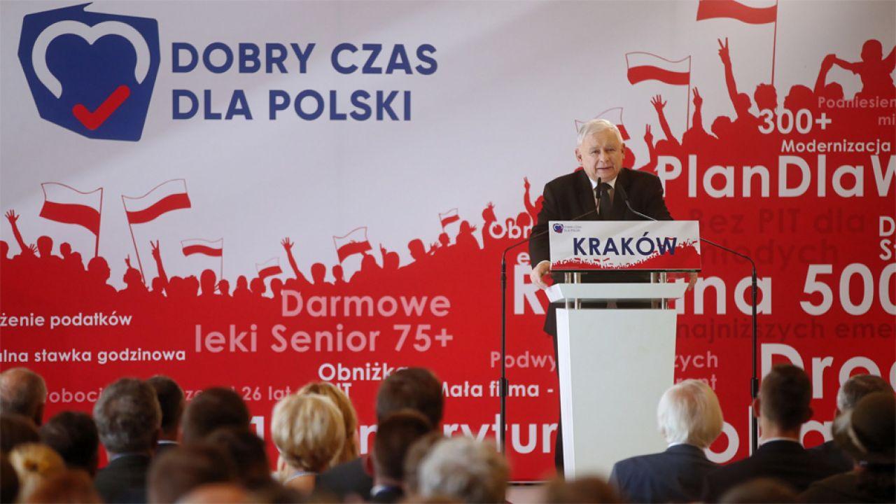 Jarosław Kaczyński wskazał, że jego PiS spełniło obietnice wyborcze (fot. arch.PAP/Łukasz Gągulski)