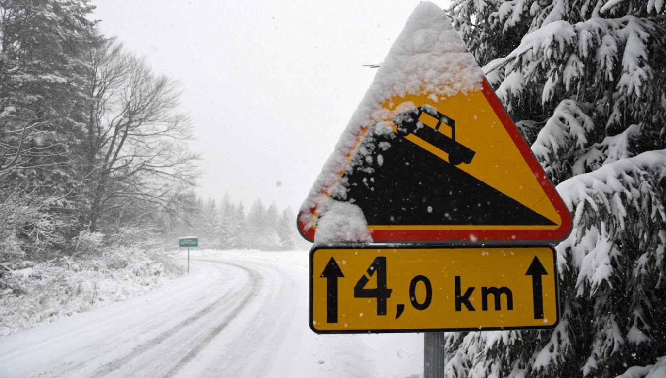 Na południowych krańcach województw śląskiego i małopolskiego obowiązują ostrzeżenia przed intensywnymi opadami śniegu (fot. PAP/Darek Delmanowicz)