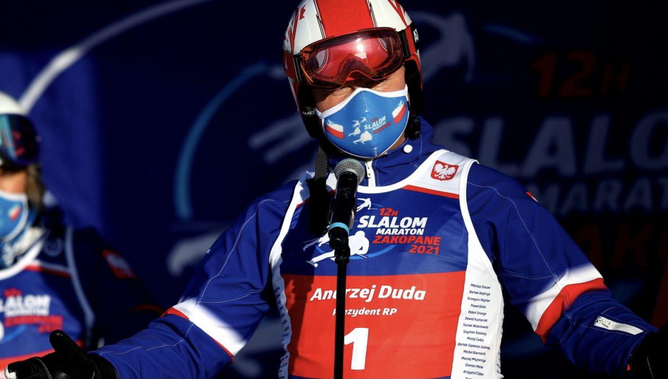 Andrzej Duda zainaugurował VII edycję charytatywnych zawodów w narciarstwie alpejskim (fot. PAP/Ł.Gągulski)
