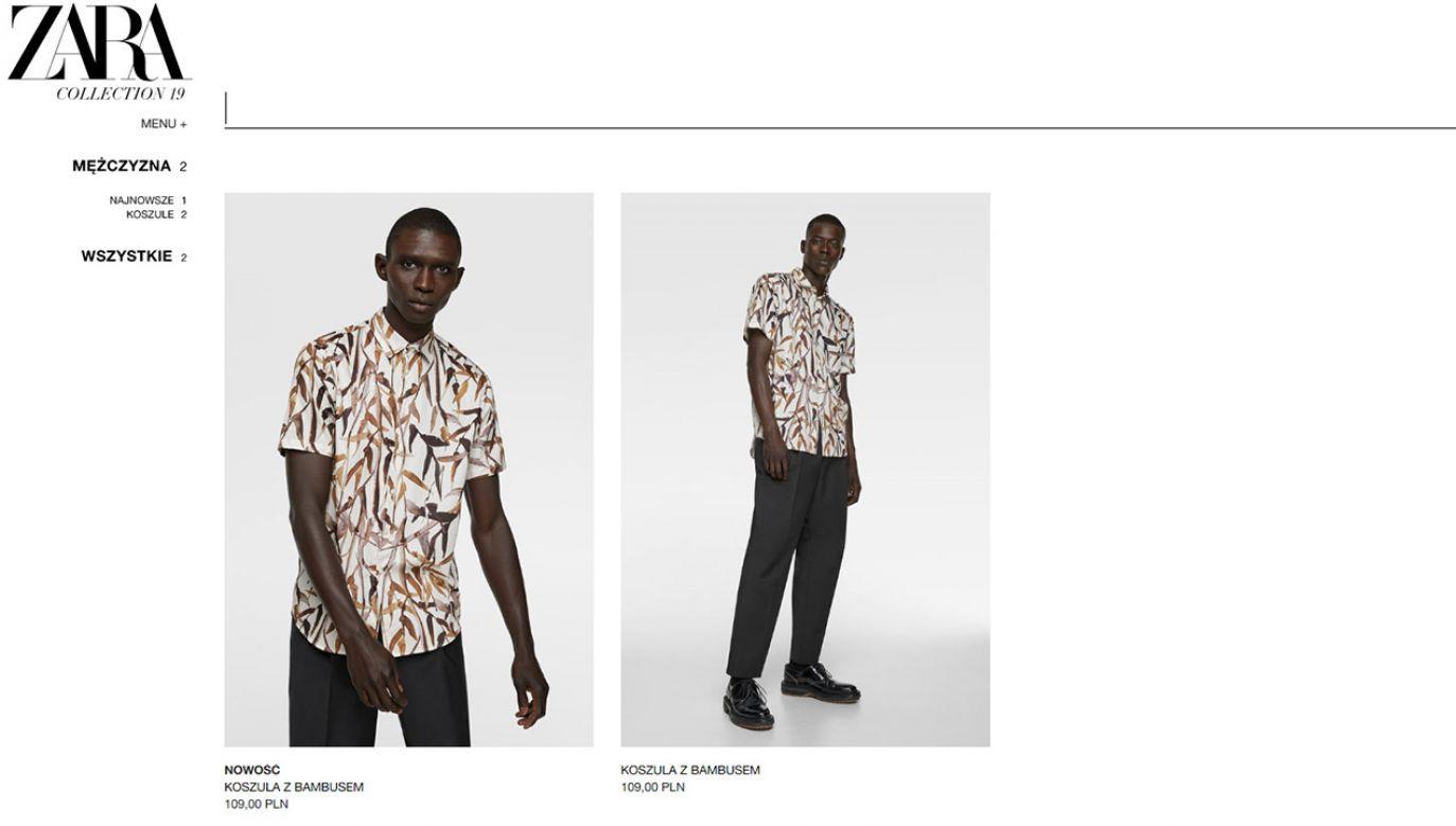 """""""Koszula z bambusem"""" oferowana w sklepie internetowym Zary (fot. zara.com)"""