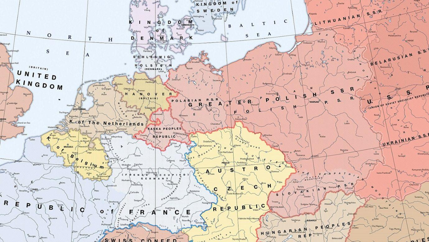 """""""Skromna propozycja: co by się stało, gdyby sojusznicy zrealizowali plan Theodore'a N. Kaufmana dla Europy?"""" Wycinek mapy po rozbiorach III Rzeszy, postulowanych w publikacji """"Niemcy muszą zginąć"""". Grafika: Kuhx, https://www.reddit.com/r/imaginarymaps/comments/igc3xm/a_modest_proposal_what_if_the_allies_implemented/"""