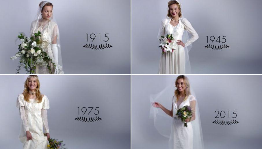 f0dcb145 W trzy minuty pokazali jak zmieniała się suknia ślubna przez 100 lat ...